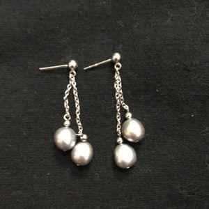 Honora Grey/lavender pearl drop earrings